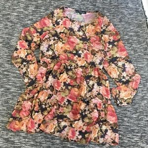 For Love and Lemons Floral Tier Sheer Dress Small